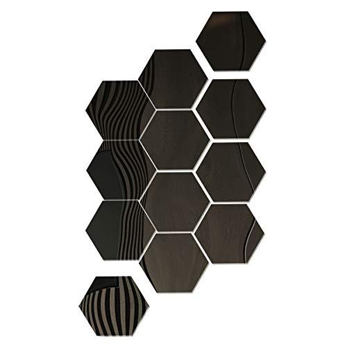 SUNTATOP Pegatinas de Pared de Espejo Hexagonal Adhesivo de Pared de Espejo Acrílico Adhesivo para Decoración de Pared DIY 17.7x15.3x9cm Juego de 12, Negro