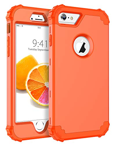 BENTOBEN iPhone 6S Case, iPhone 6 Case, 3 in 1 Heavy Duty Rugged Hybrid Hard PC Soft Silicone Bumper Shockproof Non-Slip Protective Case Cover for Apple iPhone 6S/iPhone 6 (4.7 Inch), Coral Orange