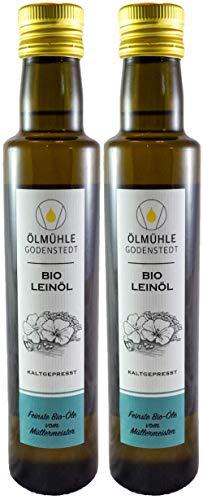 Bio Leinöl 1000ml (2x500ml) kaltgepresst aus europäischer Bio Leinsaat