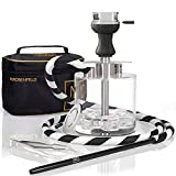 Portable Hookah Set with Everything - Acrylic Lightweight Hookah to Go with ONE Coal HMD and White Clay Bowl - Hookah Shisha Stable (Silver with Acrylic Bottom + Stainless Steel Stem)
