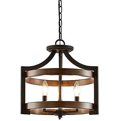 "Kira Home Woodrow 15"" 3-Light Industrial Farmhouse Semi Flush Convertible Pendant Light with Drum Shade, Dark Wood Style + Textured Black Finish"