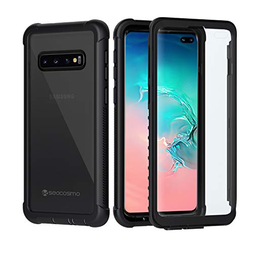 seacosmo Galaxy S10 Plus Cover, 360 Gradi Rugged Custodia Samsung S10+ Plus Antiurto Trasparente Case con Protezione Integrata dello Schermo per Samsung Galaxy S10 Plus, Nero