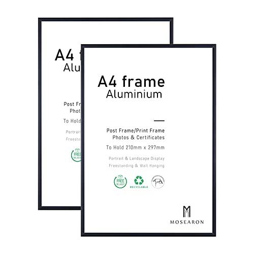 A4-Fotorahmen, 2er-Pack-21x30cm schwarzer Bilderrahmen, Zertifikatsrahmen für Wandmontage oder Tischaufsteller, 2er-Set