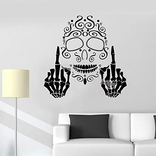 supmsds Schädel Knochen aufrecht Mittelfinger gotischen Stil Wandaufkleber Persönlichkeit Muster Tapete für Jugendliche Schlafzimmer Wandbild95X95CM