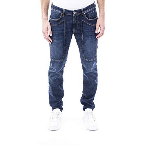 JECKERSON Jeans Blu Cinque Tasche con Toppa - 34