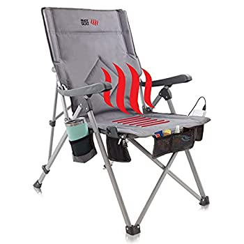 POP Design The Hot Seat Heated Portable Chair Perfect for Camping Sports Beach and Picnics USB Heated with Extra-Large Armrests X-Large Travel Bag 5 Pockets Cup Holder Battery NOT Included