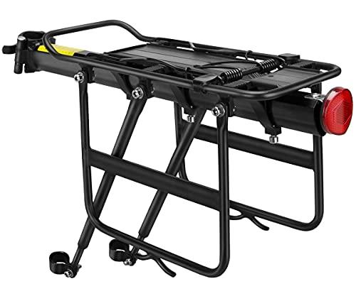 GANZTON Portapacchi per mountain bike, regolabile, carico massimo 75 kg, per mountain bike, con reggisella, sgancio rapido, riflettore per mountain bike GT300 (imballaggio interno)