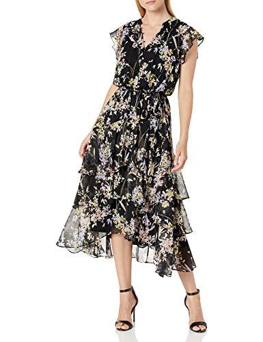 Calvin Klein Damen Printed Sleeveless Dress Lssiges Abendkleid, Schwarz Kombi 5, Mittel