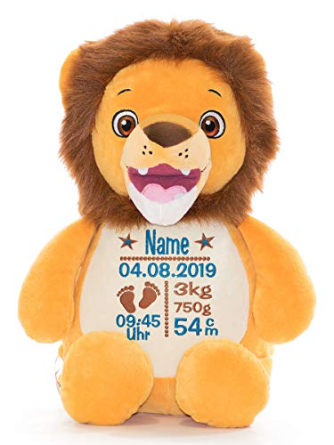 Cubbies Stofftier Teddy Bär, Einhorn, Rentier, Hase, Giraffe, Tiger, Elefant Geschenk mit Namen und Geburtsdatum personalisiert Bestickt 40cm (Löwe)