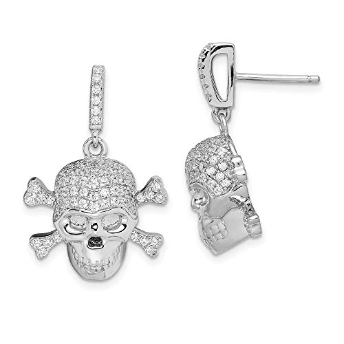Sterling Silver and Cubic Zirconia Skull Dangle Post Earrings