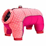 Beirui Padded Winter Puppy Dog Clothes for Small Girl Boy Dogs,Waterproof Pet Puppy Snowsuit Coat,Warm Dog Snow Jacket Clothes for Chihuahua French Bulldog (Pink Dots,Chest 16.5'')