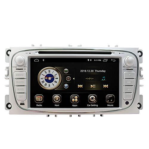 Autoradio in navigazione con cruscotto per Ford Focus S-MAX Mondeo C-MAX Galaxy, touchscreen HD da 7 pollici Android 9.0 Lettore DVD doppio Din Bluetooth con telecamera posteriore, scheda SD da 16 GB