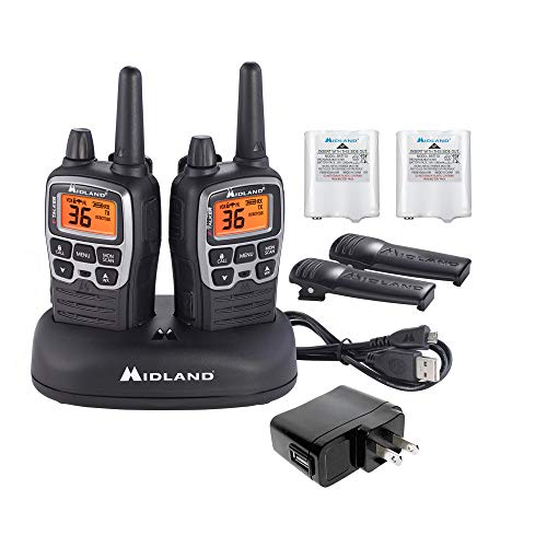 Midland - X-TALKER T71VP3, 36 Channel FRS Two-Way Radio - Up to 38 Mile Range Walkie Talkie, 121 Privacy Codes, NOAA Weather Scan + Alert (Pair Pack) (Black/Silver)