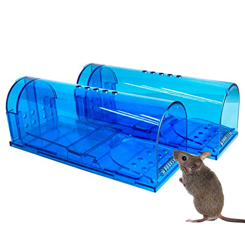 Humane Mouse Trap | 2 Pack Catch and Release Mouse Traps That Work | Mice Trap No Kill for mice Rodent Pet Safe (Dog Cat) Best Indoor Outdoor Mousetrap Catcher Non Killer Small Mole Capture Cage