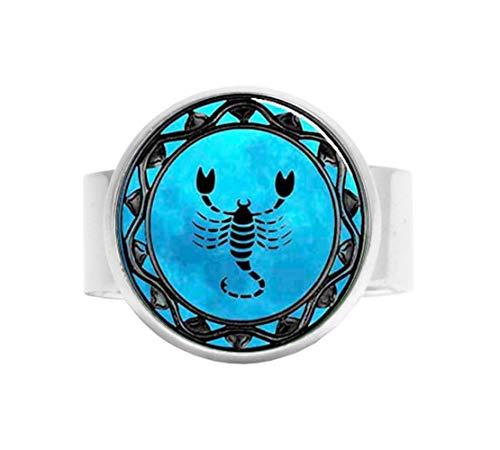 aaaAA Escorpio Anillo ajustable de Escorpio Zodiac, joyería Escorpio