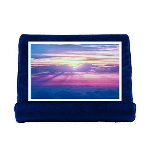 AYES Cuscino per tablet Cuscino per cuscino Supporto per libri Divano per tablet, Supporto per laptop, Mini porta per computer per Kindle, iPad Air, Tablet, E-Reader, lavabili in genere (Blu)