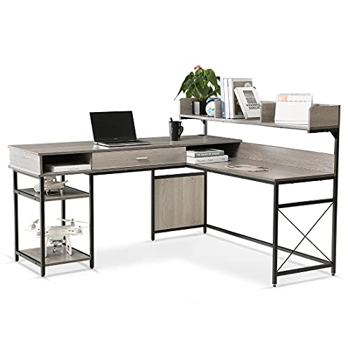 LIFEFAIR L-Shaped Desk with Large Drawer Home Office Desk with Hutch Corner Desk with Storage Shelves,Study Computer Workstation Desk Space-Saving, Gaming Table (Gray/Black)
