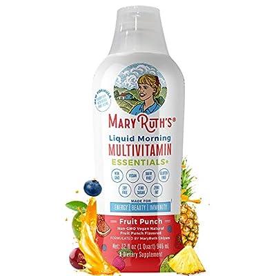 Morning Liquid Multivitamin + Zinc + Elderberry + Organic Whole Food Blend by MaryRuth's (Fruit Punch) Vitamin A B C D3 E Trace Minerals & Amino Acids 100% Vegan - Men Women Kids 0 Sugar 32oz