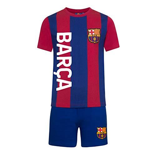 FC Barcelona - Jungen Schlafanzug mit Streifen - kurz - Offizielles Merchandise - Geschenk für Fußballfans - 11-12Jahre