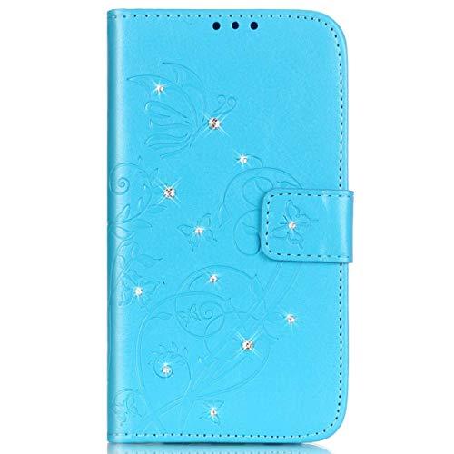kompatibel mit Huawei G8 Hülle,Huawei GX8 Hülle,Handyhülle Huawei G8 Lederhülle Blume Schmetterling Glitzer Strass Diamant PU Leder Flip Hülle Wallet Tasche Hülle Cover Schutzhülle für Huawei G8,Blau