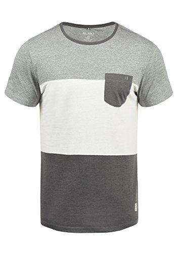Blend Nemo Herren T-Shirt Kurzarm Shirt Streifenshirt Mit Streifen Und Rundhalsausschnitt, Größe:L, Farbe:Pewter Mix (70817)
