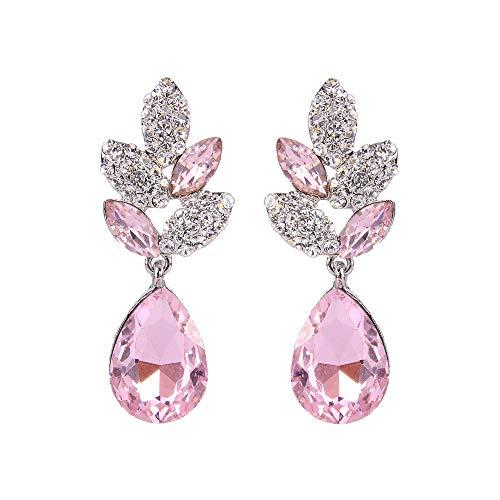 EVER FAITH® - Plata-Tono Hoja Lágrima Cristal Austriaco Pendientes Perforados Rosado N03198-1
