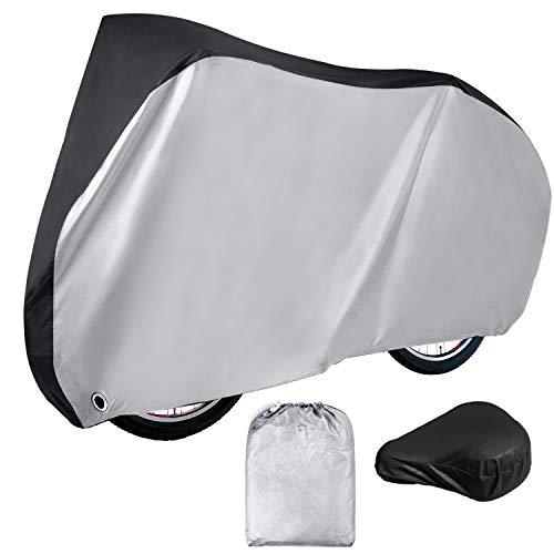 Simpeak Funda Impermeable para Bicicleta 210D XL, 200 x 110 x 70 cm con Funda Impermeable para sillín, Plateado Negro