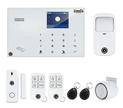 Sistema de Alarma para casa DV-1A3G V3,Modelo 2022, Marcador telefónico 4G, 99 Zonas inalámbricas y 3 Filas, aplicación DadVu