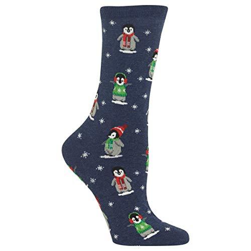 Hot Sox Damen Pinguin Crew Socken Gr. 38, Denim Heather
