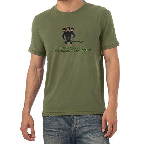 NERDO - Dreiköpfiger AFFE - Herren T-Shirt, Größe XXL, Oliv