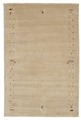 CarpetVista Gabbeh Loom Frame - Dunkelbeige Teppich 200x300 Orientteppich