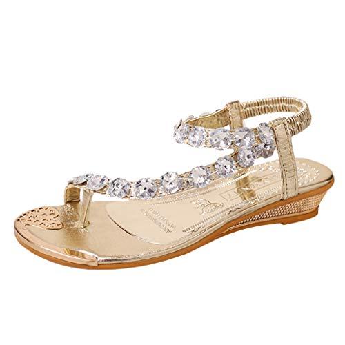 Sayla Sandalias para Mujer Verano 2019 Moda Sexy Casual Cuña Tacon Plataformas Planas Romanas Retro Playa Bohemia Crystal Flats Zapatos Open-toed Rome Sandalias