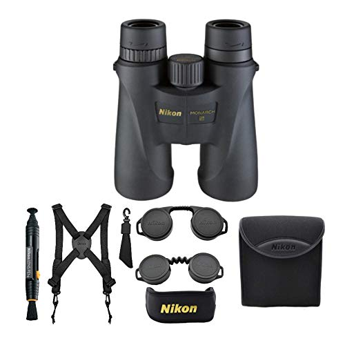 Nikon Monarch 5 10x42 Waterproof/Fogproof Roof Prism Binoculars (7577) Bundle with a Lens Pen + Harness + Case & Essential Accessories (5 Items)