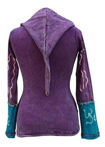 SHOPOHOLIC FASHION Damen-Kapuzenjacke mit Sonnenflammen und Hippie-/Gothic-Stil Gr. 48, violett