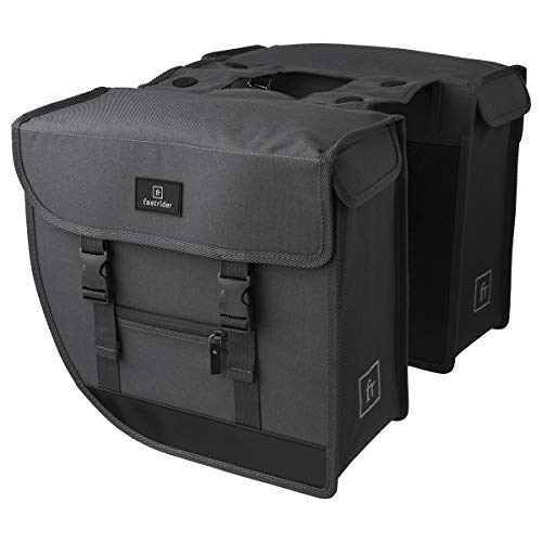 FastRider Hybrid Doppelte Fahrradtasche für Gepäckträger, 26L Seitentasche Fahrrad, Gepäckträgertasche Wasserabweisend, Reflektierend, Einfache Montage, Recyceltes Polyester - Grau