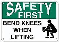 ノベルティブリキ看板安全スローガンZCを持ち上げるときに膝を曲げる、ティンサインアート鉄絵金属プラークヴィンテージ壁の装飾ポスター家カフェレストランバー