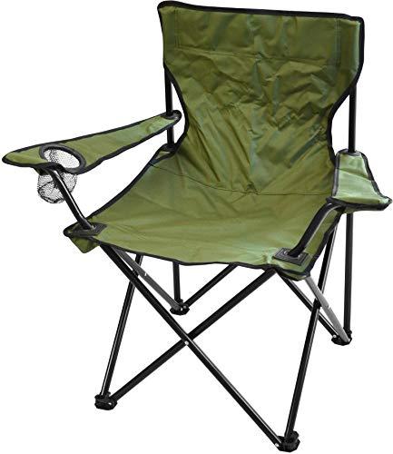 normani Campingstuhl Faltstuhl Klappstuhl Anglerstuhl Getränkehalter Stuhl Gartenstuhl für den Sommer Farbe Oliv mit Armlehne