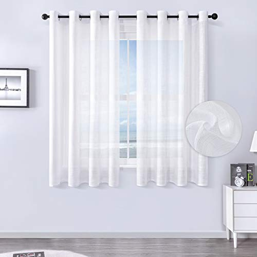MRTREES Voile Gardinen kurz 2er-Set Leinenoptik Vorhang mit Ösen im Modernen Stores Gardinen Schals Weiß 160×140 (H×B) für Wohnzimmer Schlafzimmer Kinderzimmer