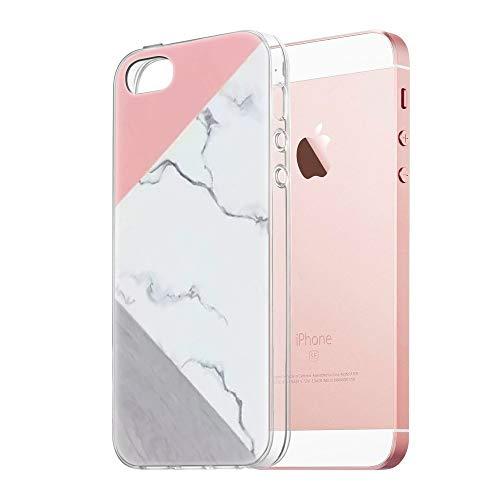 Pnakqil Funda Apple iPhone SE / 5s / 5 Transparente Silicona Carcasa Ultrafina Suave Gel TPU Piel Antigolpes Protectora Bumper Case Cover Compatible con Teléfono Apple iPhoneSE, Mármol Rosa Blanco