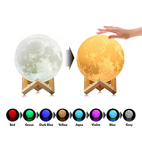 [Upgraded TapControl Version] 3D Printing Moon Lamp with Wooden Stand & Lanyard -Rechargeable LED...