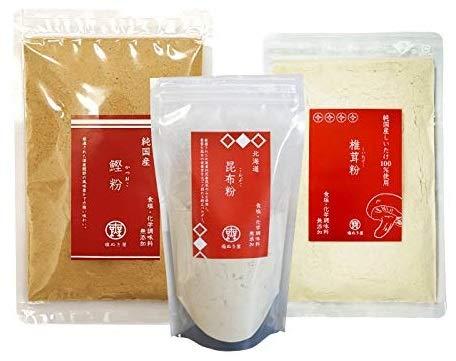 無塩 調味料 塩ぬき屋 昆布粉 90g 鰹粉 100g 椎茸粉 80g 化学調味料 無添加 3袋セット