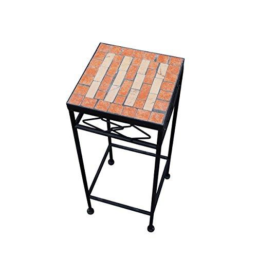 PrimoLiving Metall Blumenhocker/Beistelltisch Mosaik Eckig Schwarz Gr. S (P-959)