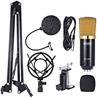 Professional Broadcasting Studio Recording Condenser Microphone Mic Kit with Shock Mount Adjustable Suspension Scissor...