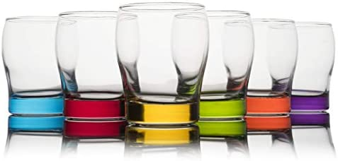Trinkware Colored Stemless Wine Glasses Set of 6 Blue Red Yellow Green Orange Purple Dof Glassware product image