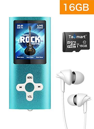 Tabmart® MP3 MP4 Musik Player Inklusiv 16 GB MicroSD Unterstützung Audio Player Media Player FM Radio E-Books Lange Akkulaufzeit 1,81 Zoll Farbdisplay Musik Player Blau