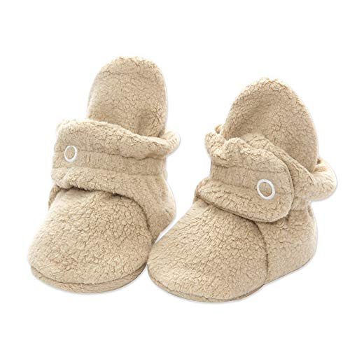 Zutano Cozie Fleece Baby Booties with Cotton Lining, Unisex, for Newborns, Infants, and Toddlers, Khaki, 3M