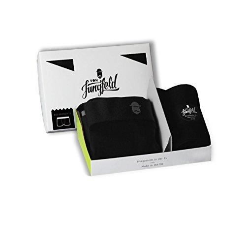 von Jungfeld – Boxershort Brief Unterhose mit Socken Kombi-Pack schwarz Größe S/M // 42-44