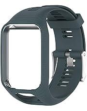 Yihaifu Silicone horlogeband Wrist Band Riem vervanging voor gesp TomTom 2 3 Runner 2 3 Spark 3, Black