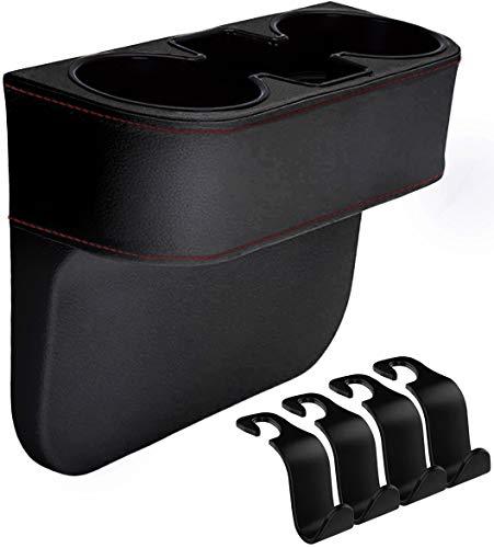 IYOYI Auto Getränkehalter, Upgrade Leder Autotassenhalter Sitz Seiten Getränkehalter, Multifunktions Auto Aufbewahrungsbox - Auto Becherhalter mit 4 Stück Auto-Kopfstützen-Haken (Upgrade – schwarz)