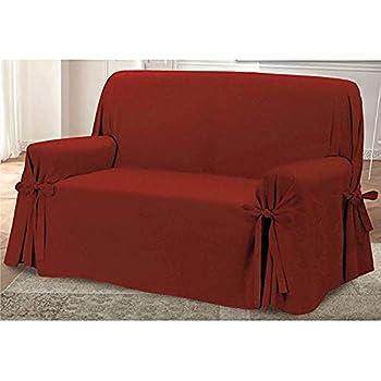 HomeLife – Cubre sillón – Elegante Protector de sofás con Lazos – Funda de sofá de algodón para Proteger del Polvo, Las Manchas y el Desgaste, Fabricado en Italia – Burdeos: Amazon.es: Hogar